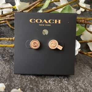 COACH NWT Rose Gold Pave Pendant Stud Earrings